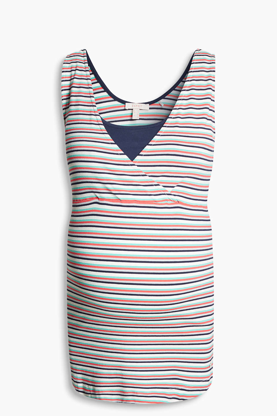 Striped top with an integral front bodice section for breastfeeding, made of exquisite stretch jersey
