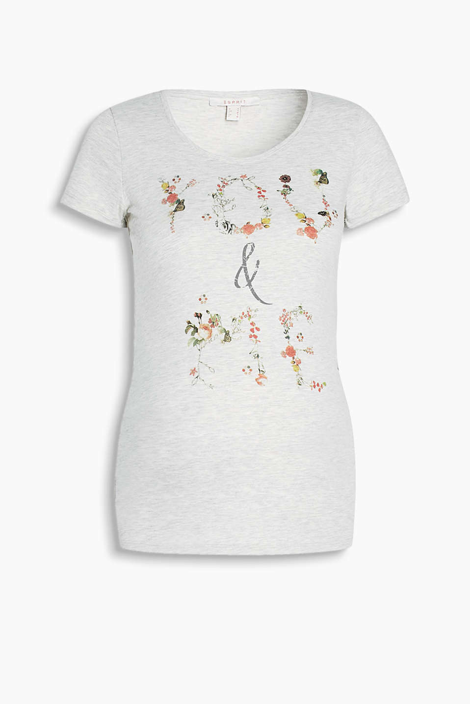 Soft melange T-shirt with a colourful front print