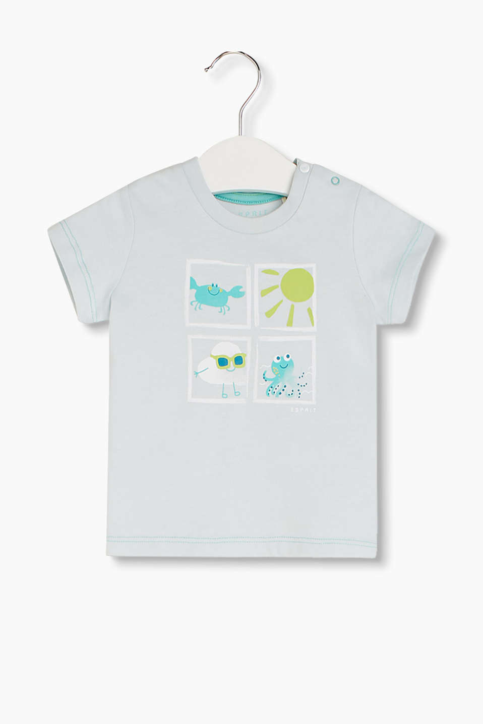 Soft printed T-shirt with contrasting stitching and press studs in the shoulder, organic cotton