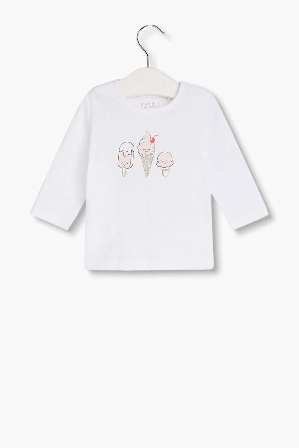 Long sleeve top made of 100% cotton with a cute ice cream print