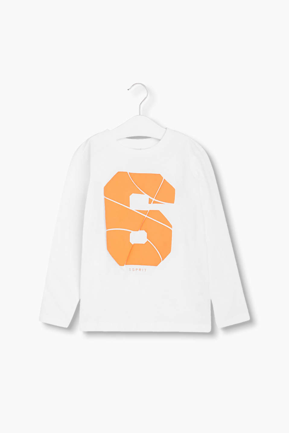 Long sleeve cotton-jersey top with large printed numbers in 3-d effect foam