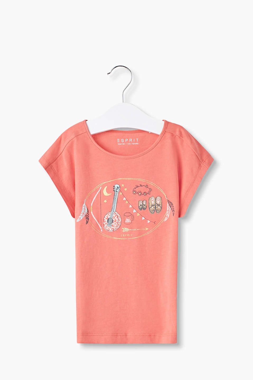 Pure cotton, round neck T-shirt printed with partially glittering motifs