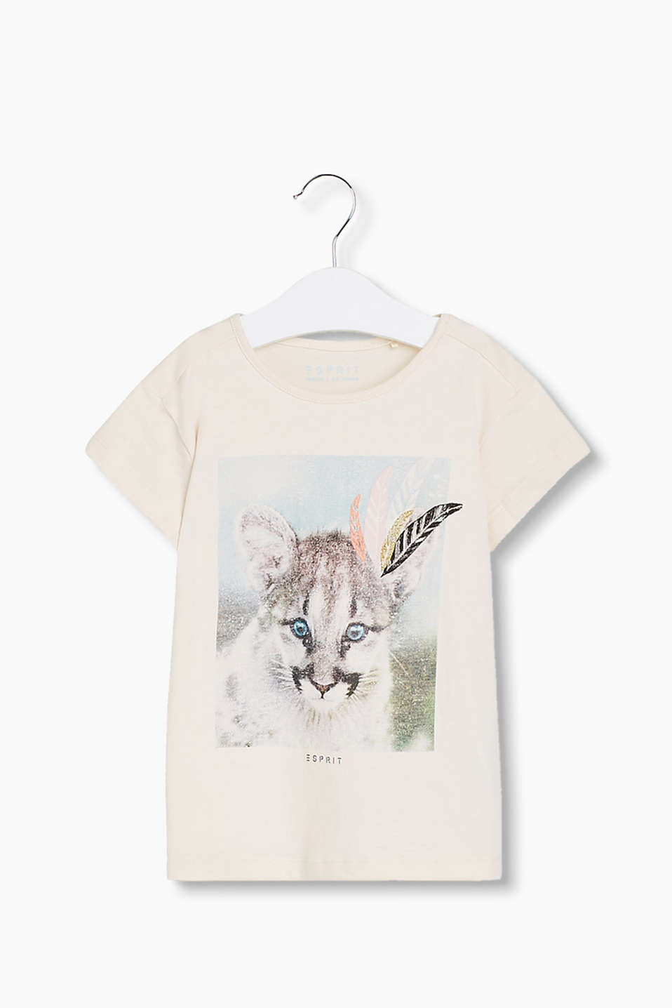 With a semi-glittering leopardskin print print: T-shirt in soft cotton jersey