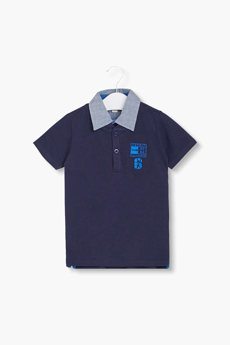 Trendy 2-in-1 look: Piqué polo shirt with chambray collar