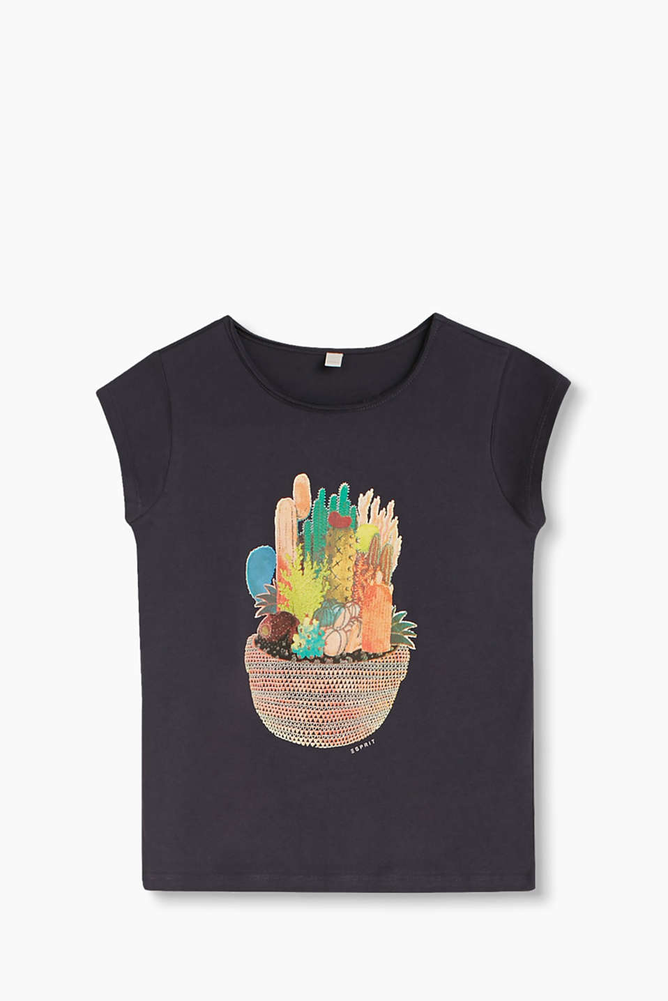Soft, cotton-jersey T-shirt with a colourful, cactus print