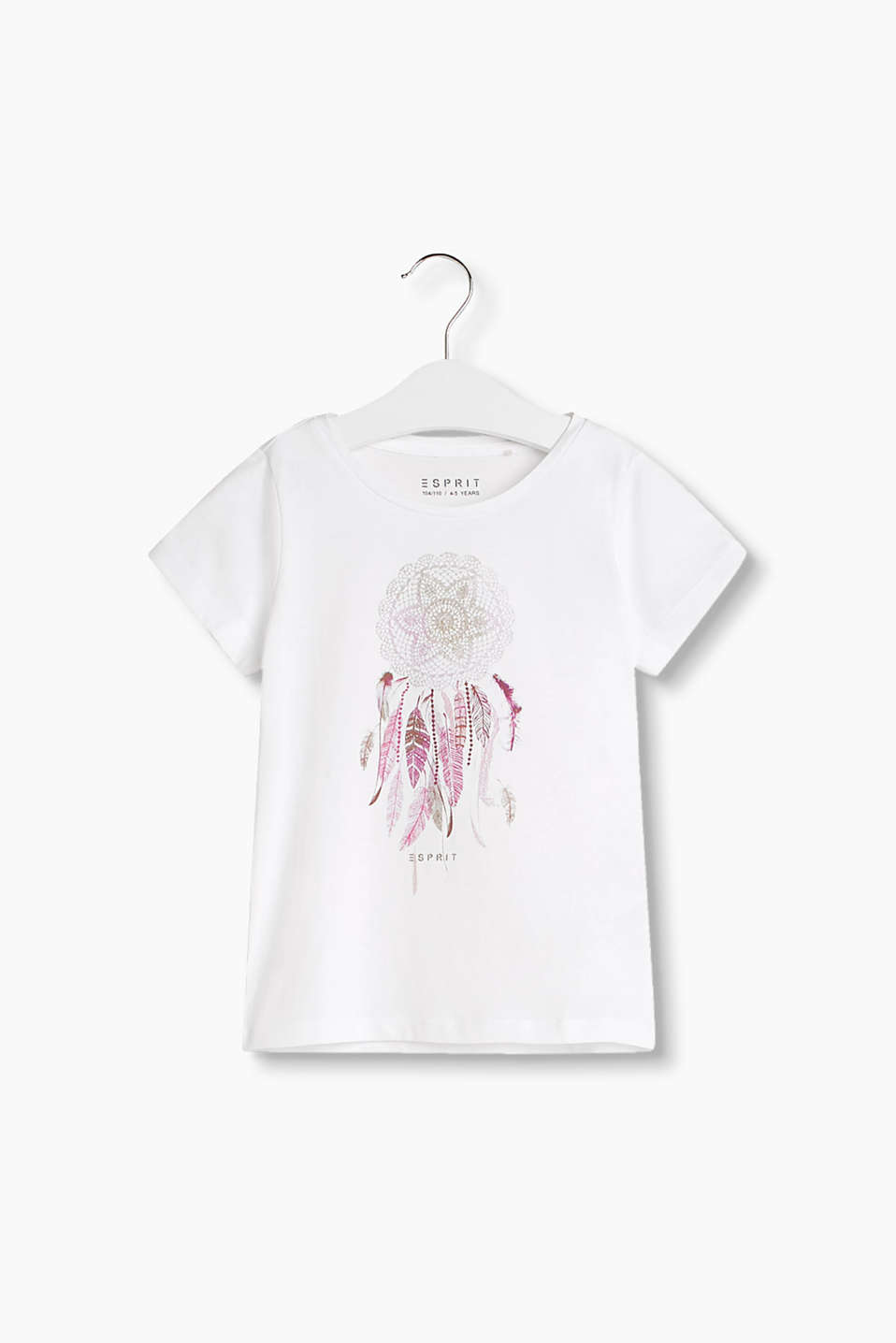 Crew neck T-shirt in soft cotton jersey with a dreamcatcher print