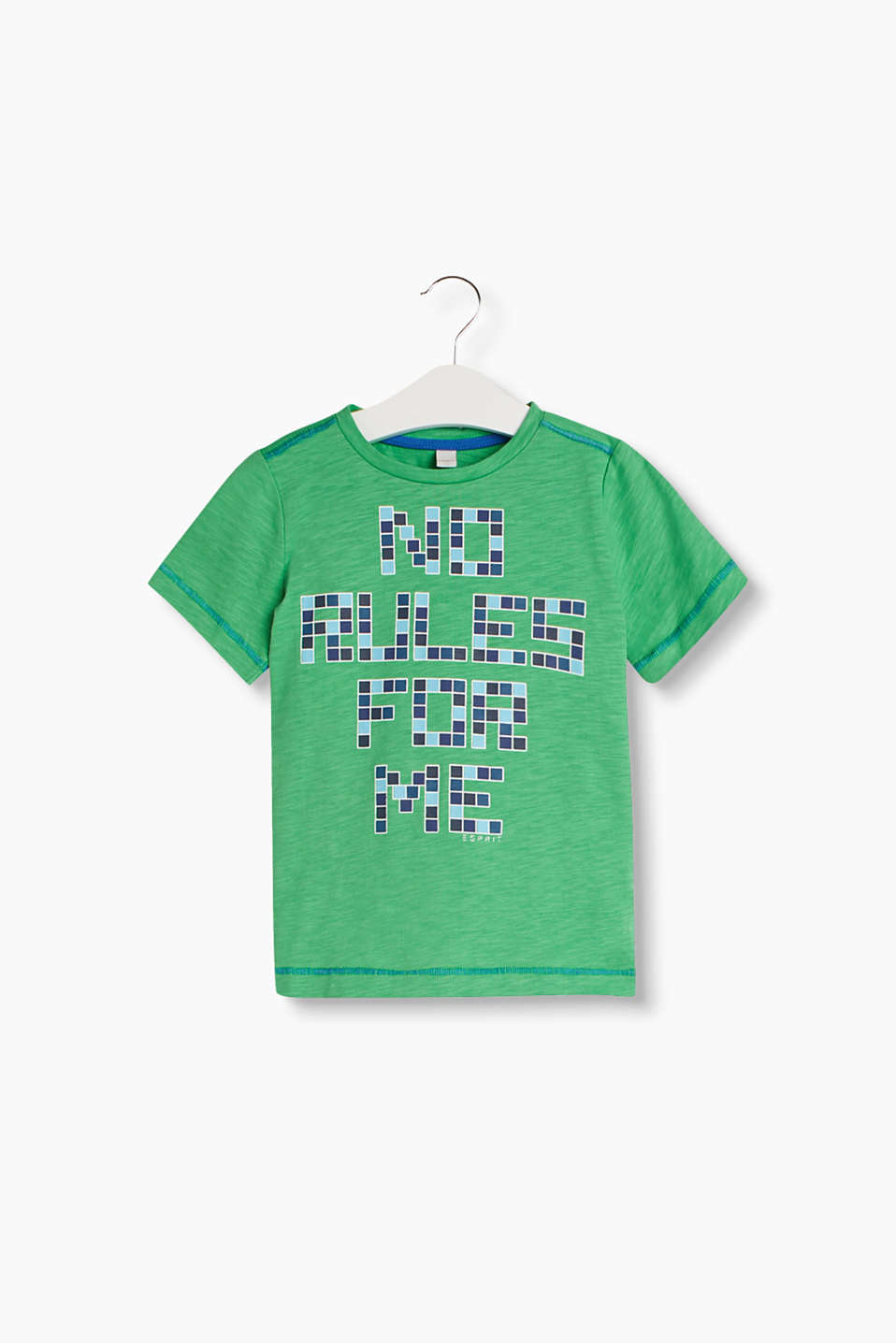 Soft melange T-shirt with a pixel print and contrasting colour, decorative stitching