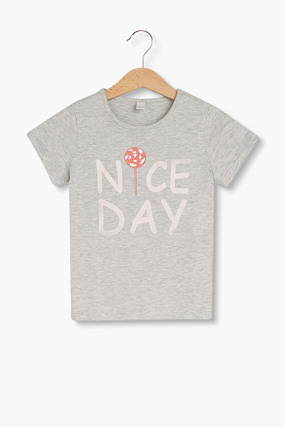 Melange T-shirt with a statement and glitter print