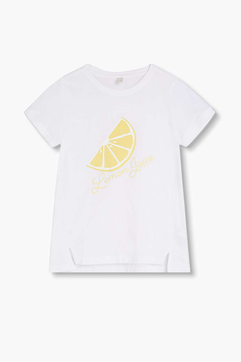 Pure cotton T-shirt with a velvety lemon print
