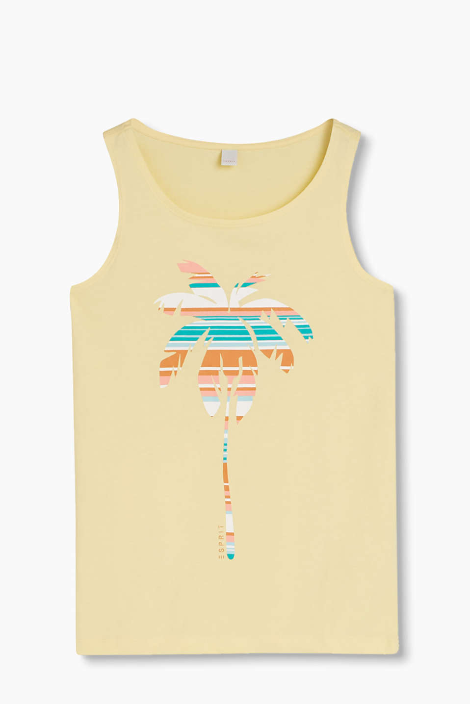Lightweight vest top with a colourful front print, 100% cotton