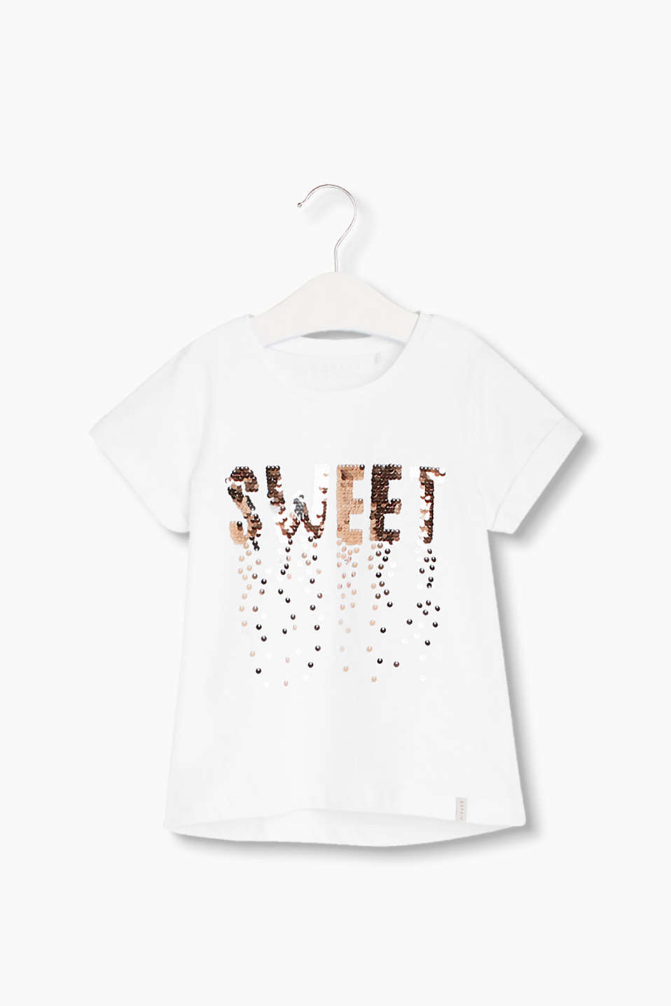 Gorgeously glittery! Cotton T-shirt with shimmering sequin embroidery