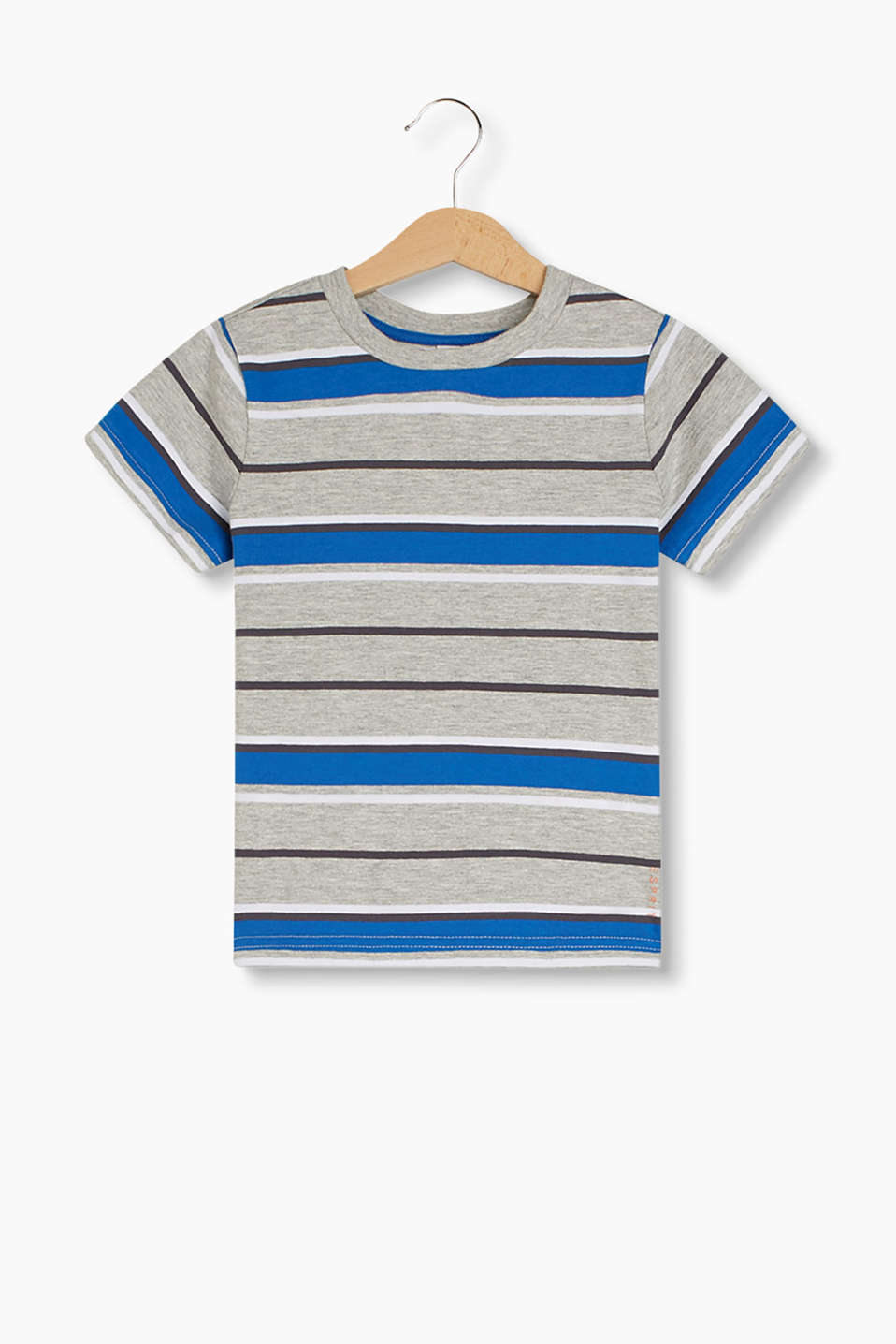 Soft T-shirt in a melange look with varying stripes