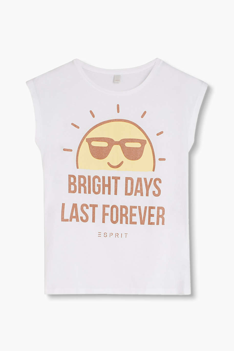 BRIGHT DAYS LAST FOREVER – T-shirt in cotton jersey with a glittery statement print