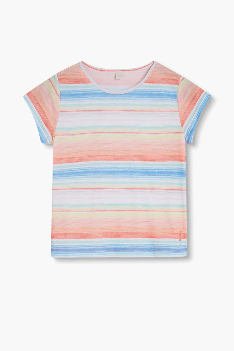 With multi-coloured stripes: Cotton jersey T-shirt