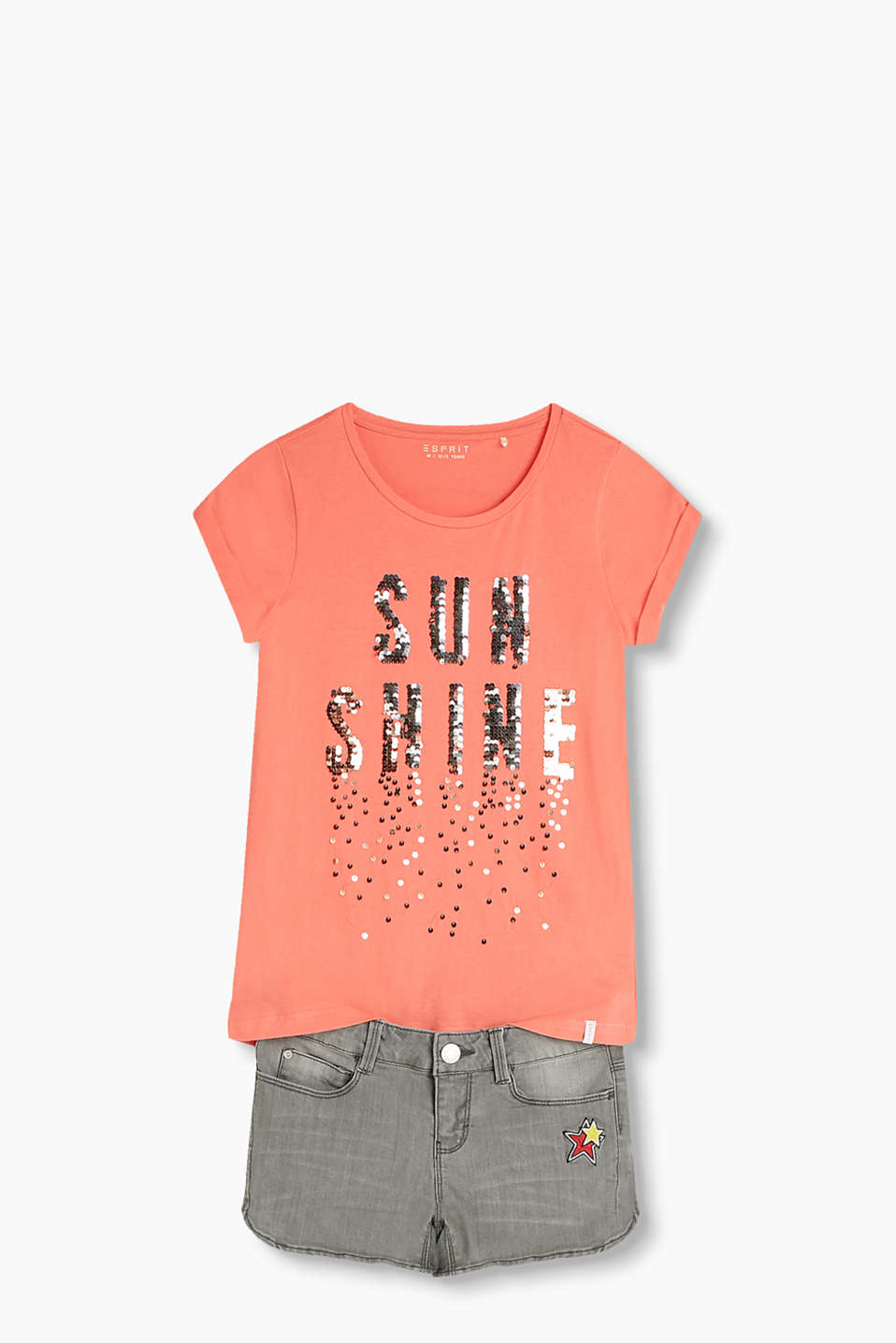 T-shirt with stunning appliquéd sequins, made of 100% cotton