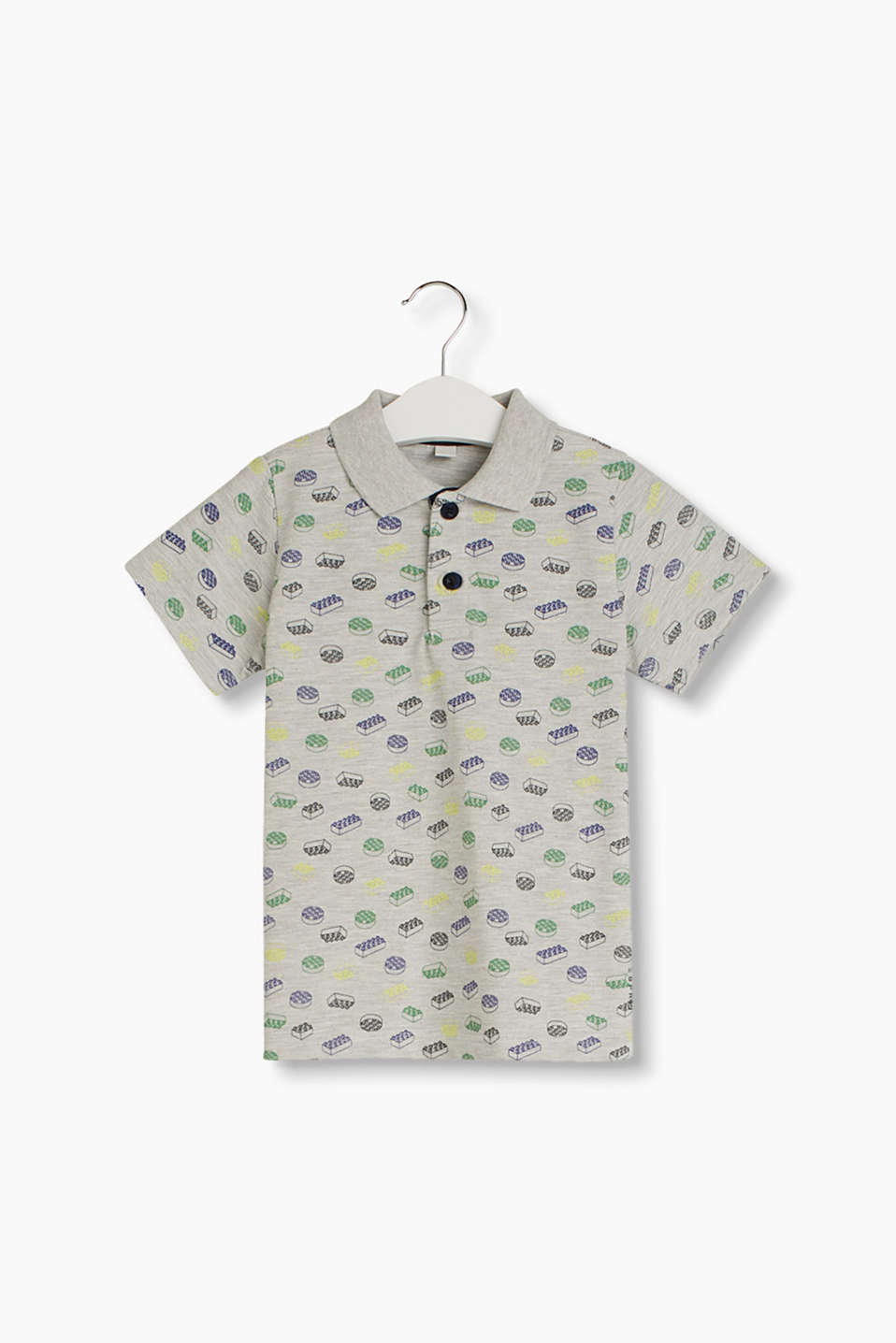 Trendy print polo shirt with neon effects, cotton blend