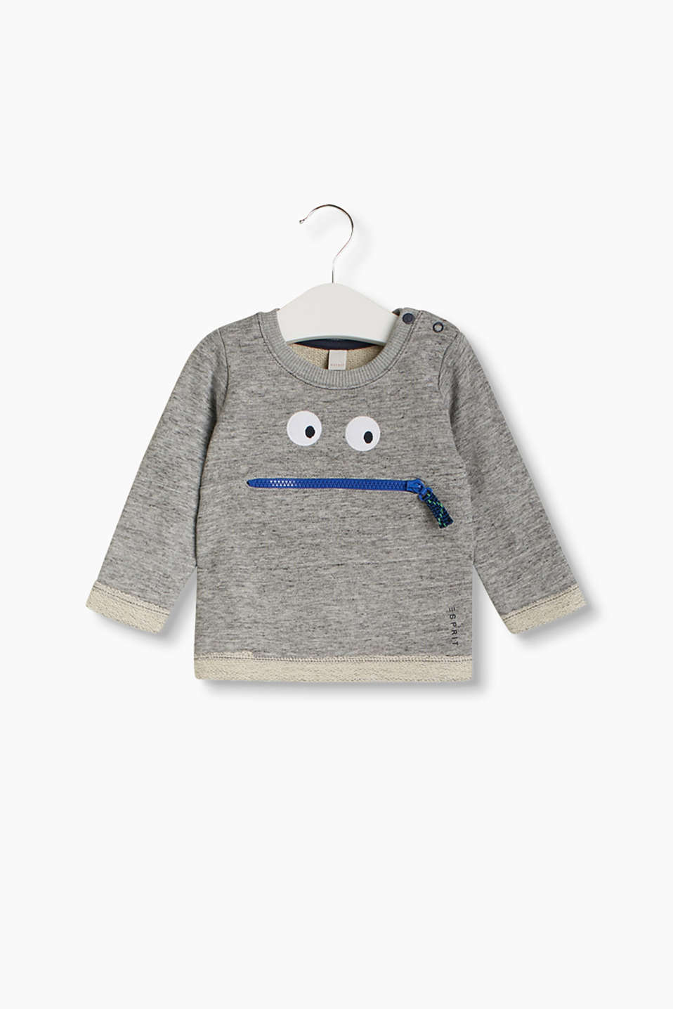 Melange sweatshirt with a comic monster face and fixed turn-up cuffs