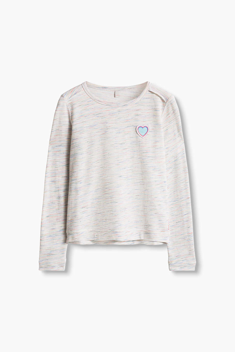 Lightweight sweatshirt in soft cotton with colourful stripes and a pretty heart appliqué