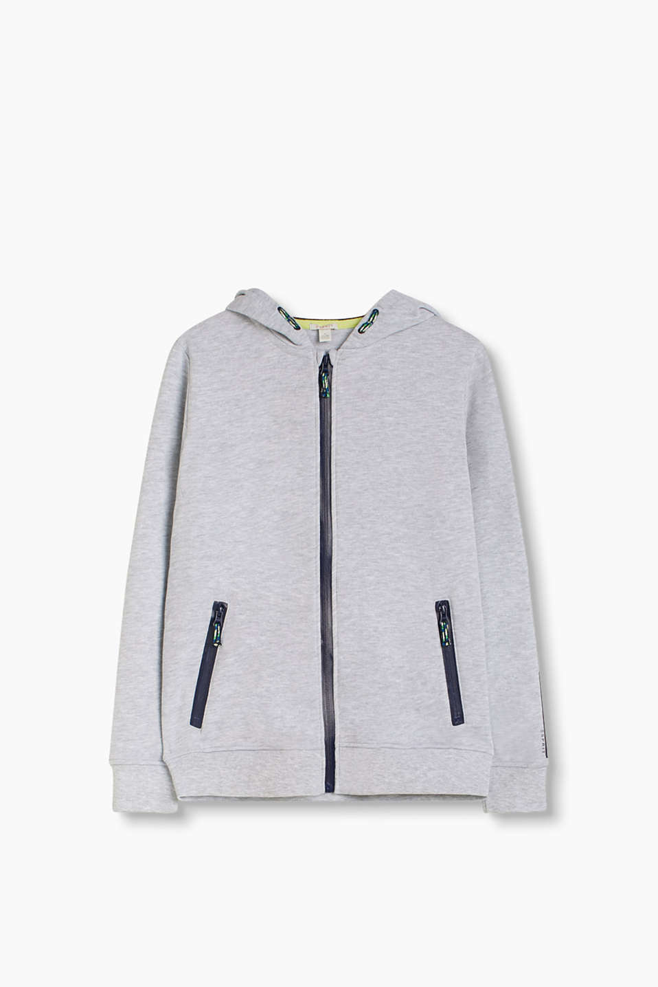 Melange sweatshirt hoodie with contrasting colour, lacquered-effect zips