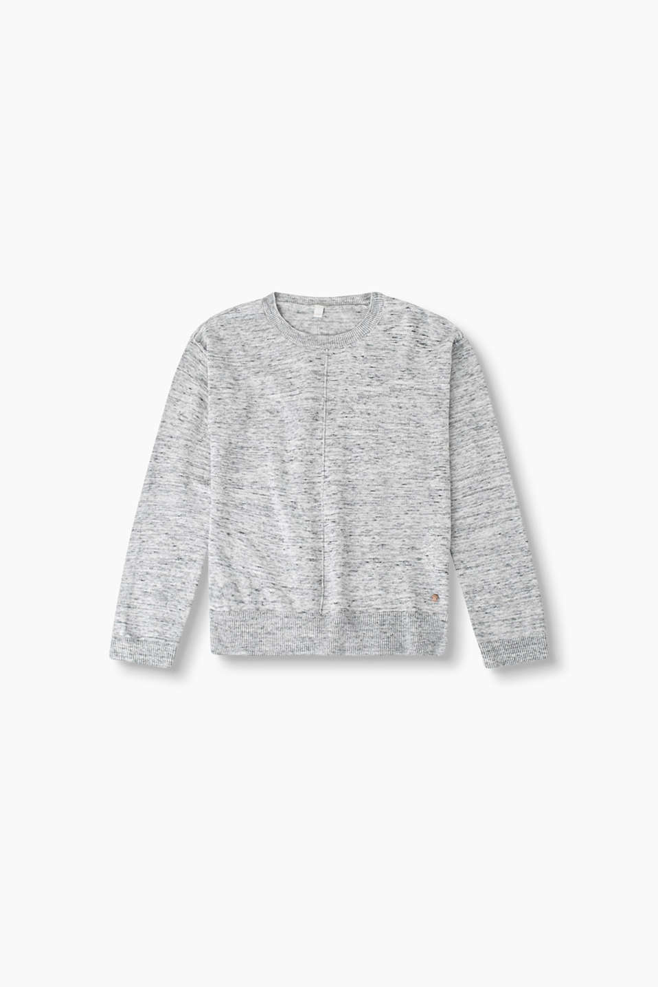 Casual melange jumper in a fine cotton knit