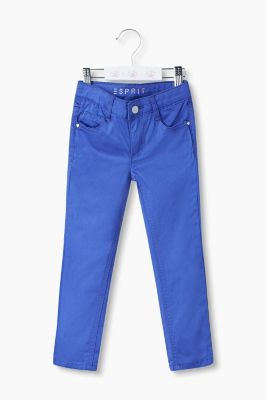 Five-pocket stretch cotton satin trousers