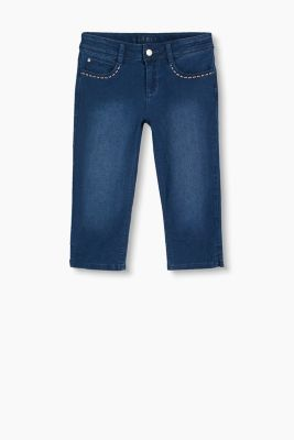 Bestickte Capri aus Stretch-Denim