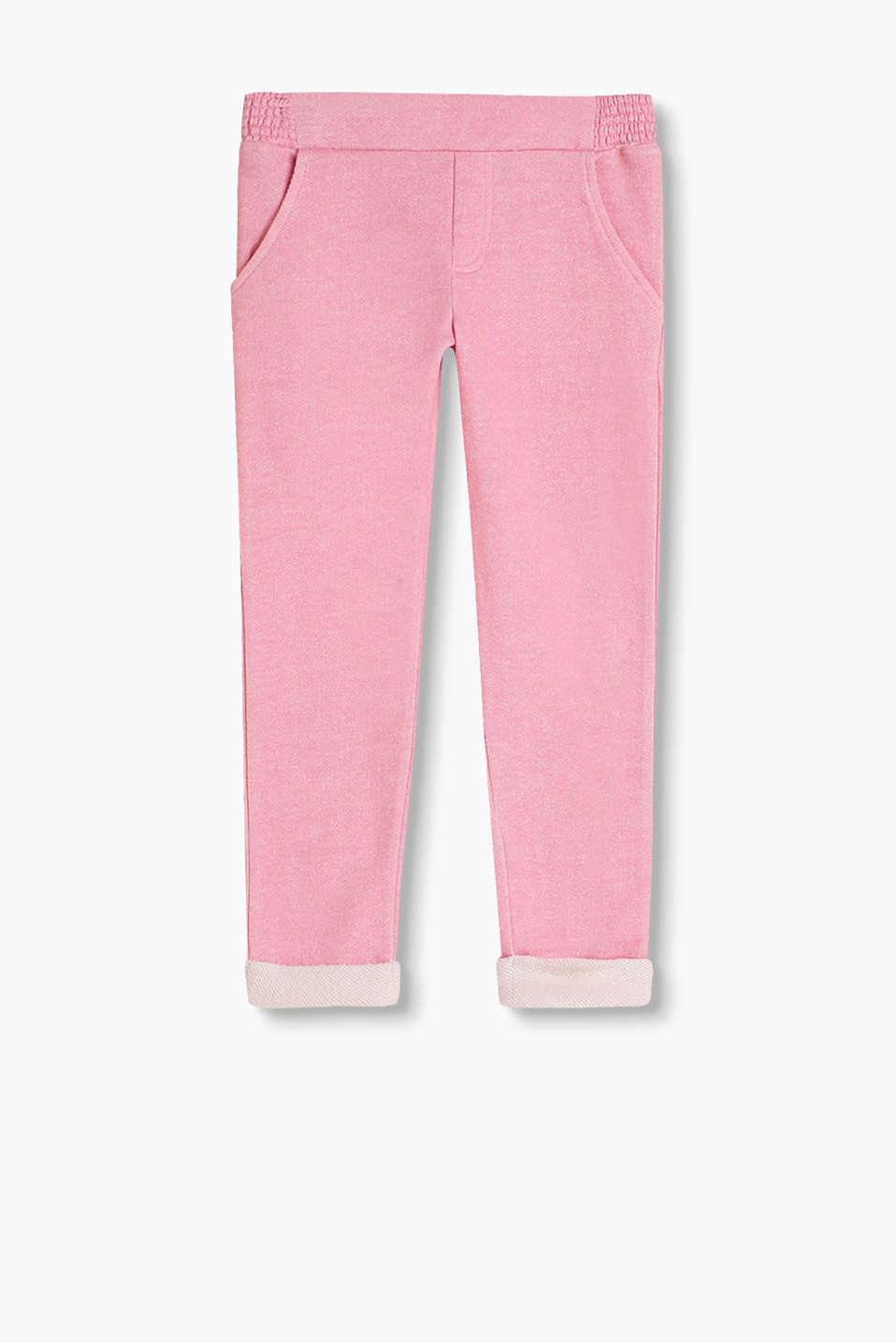 Melange tracksuit bottoms with contrast colour details, 100% cotton