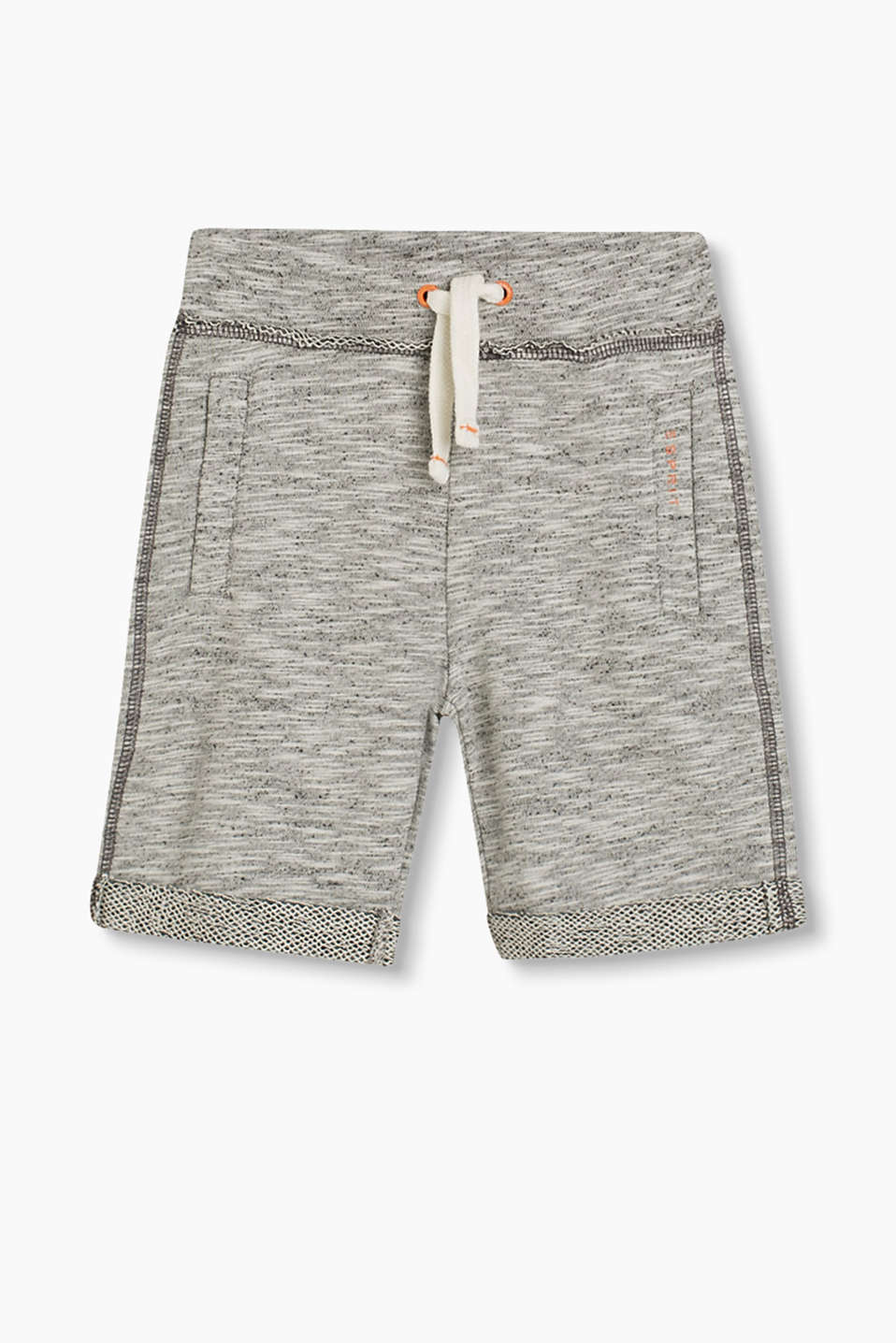 Sweatshirt shorts in a melange finish with an attached turn-down waistband