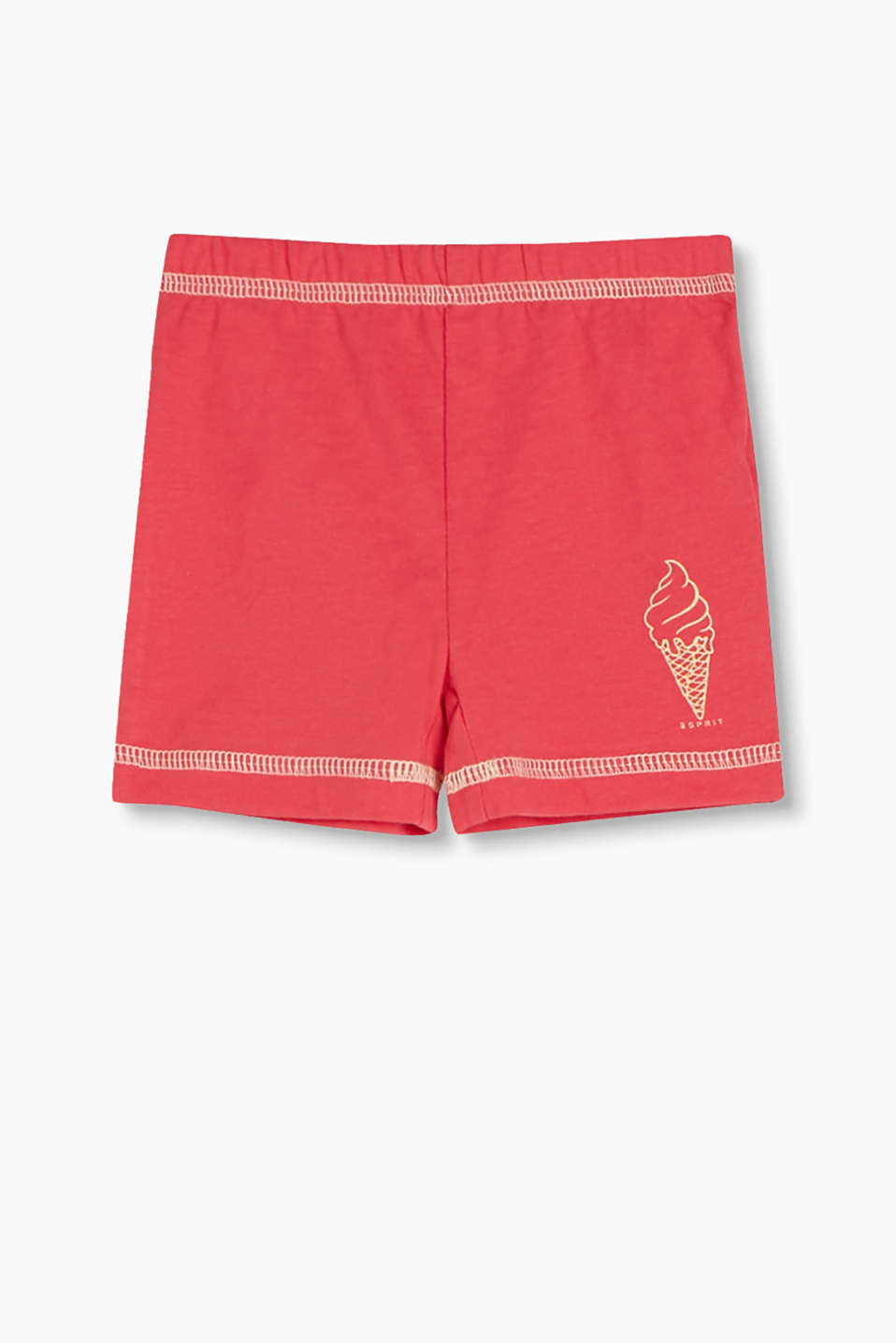 Jersey shorts with an ice cream print and contrasting stitching, 100% cotton