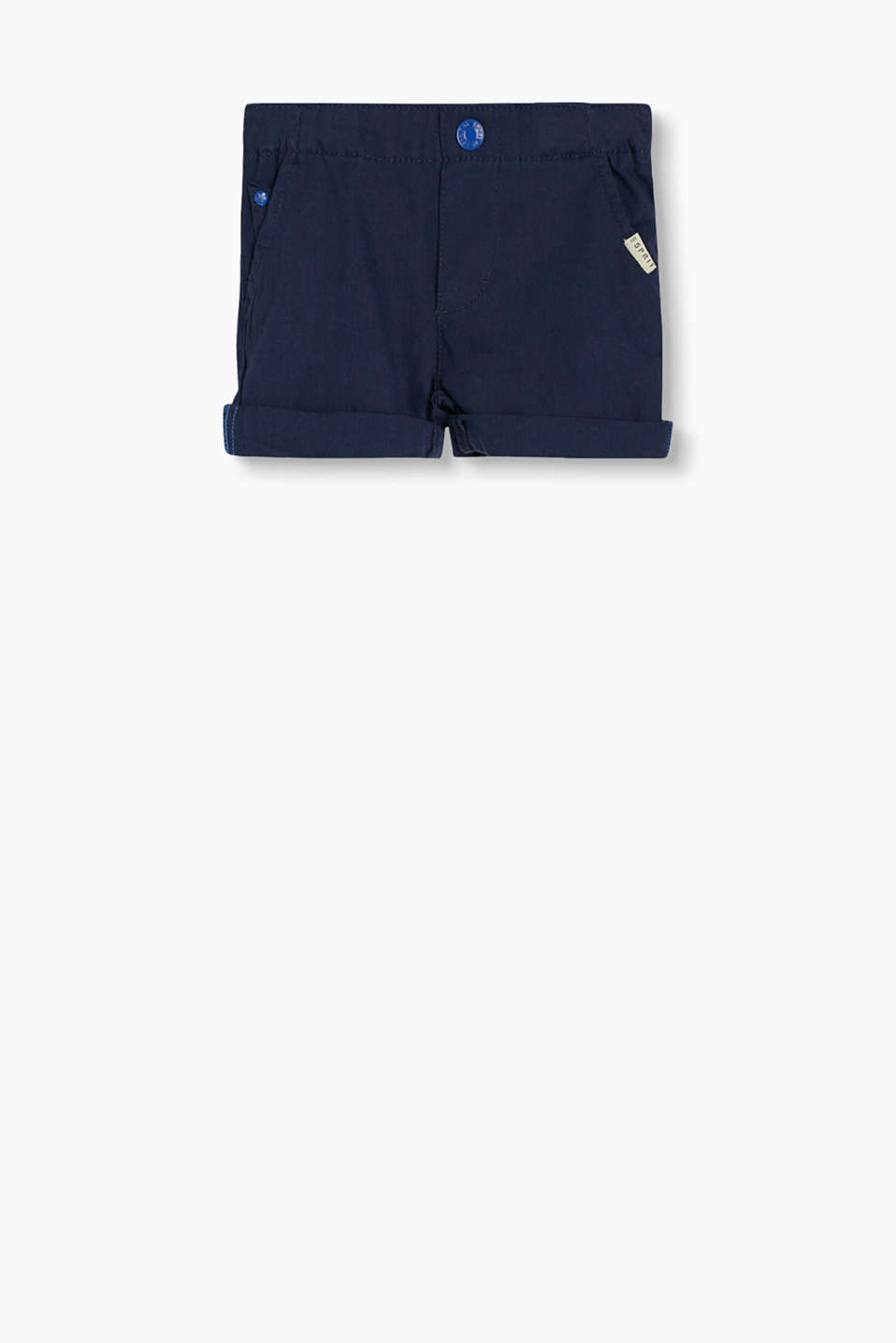 Soft cotton shorts with fixed roll-up hems and adjustable elasticated waistband