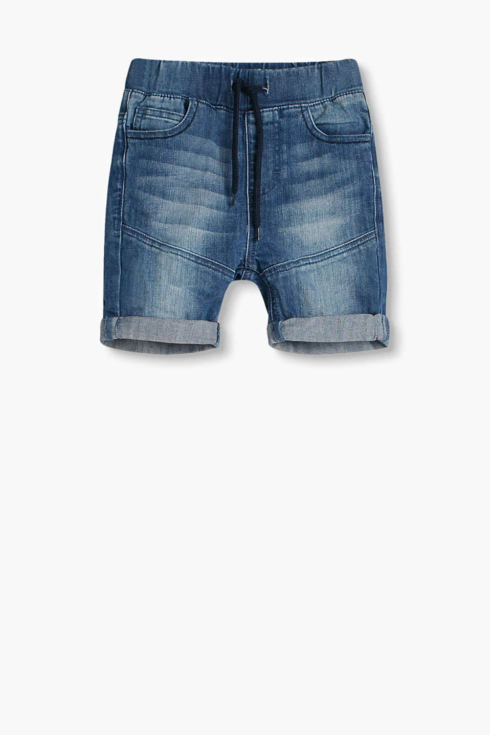Casual washed 5-pocket shorts in stretch denim, with an adjustable waistband