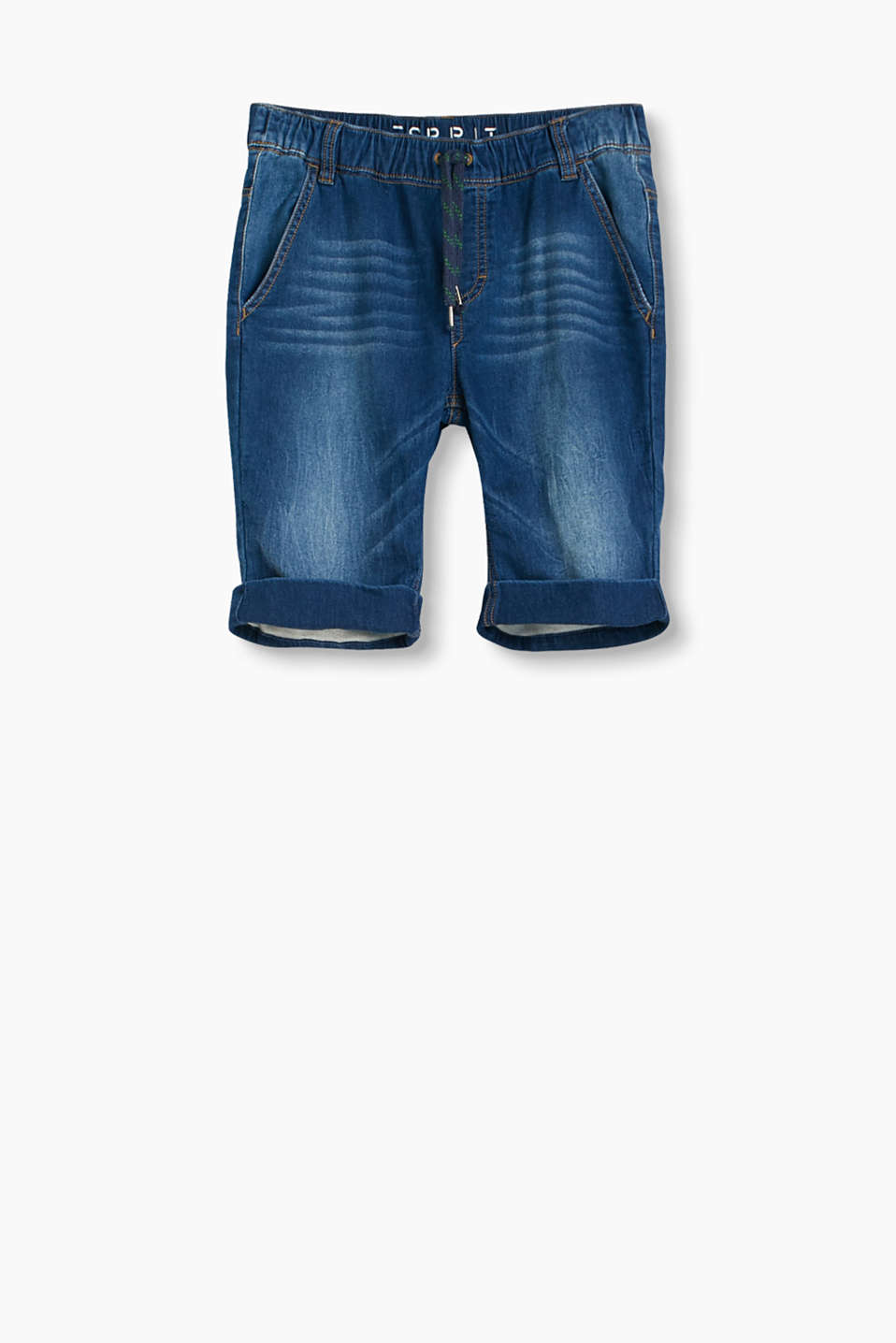 Shorts with elasticated waistband and casual washed-out effects in sweat-look denim