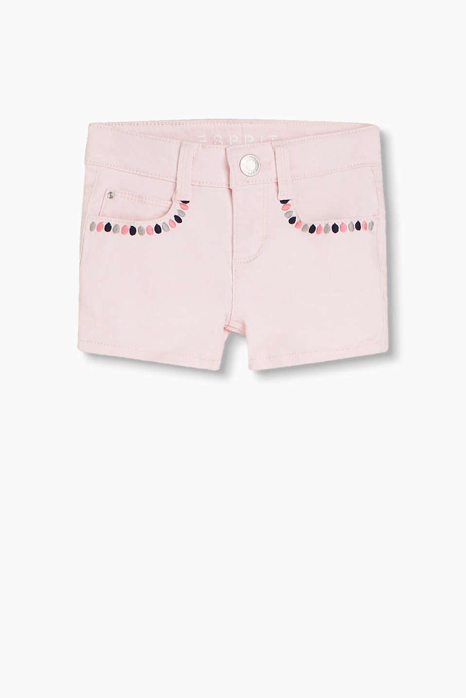 Cotton denim shorts with pretty embroidery