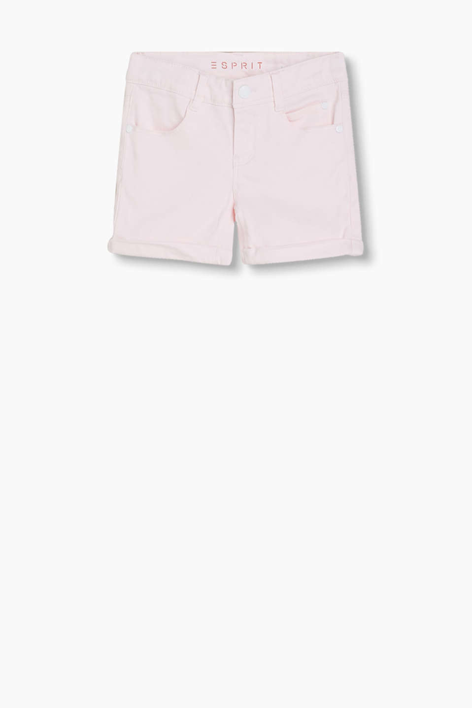 Cotton satin shorts with added stretch, adjustable waistband in a five-pocket style