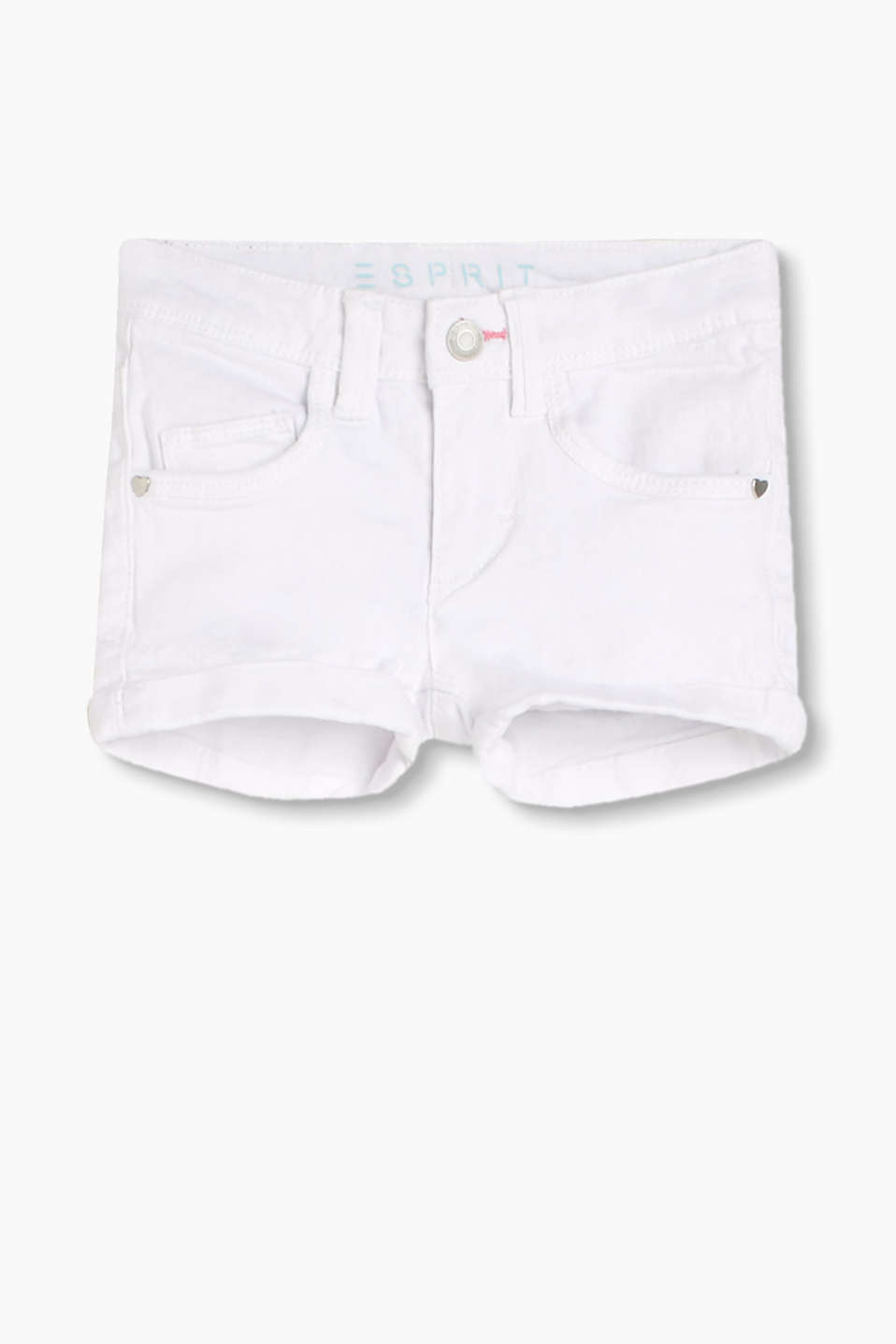 En coton à teneur en stretch confortable : le short de style 5 poches
