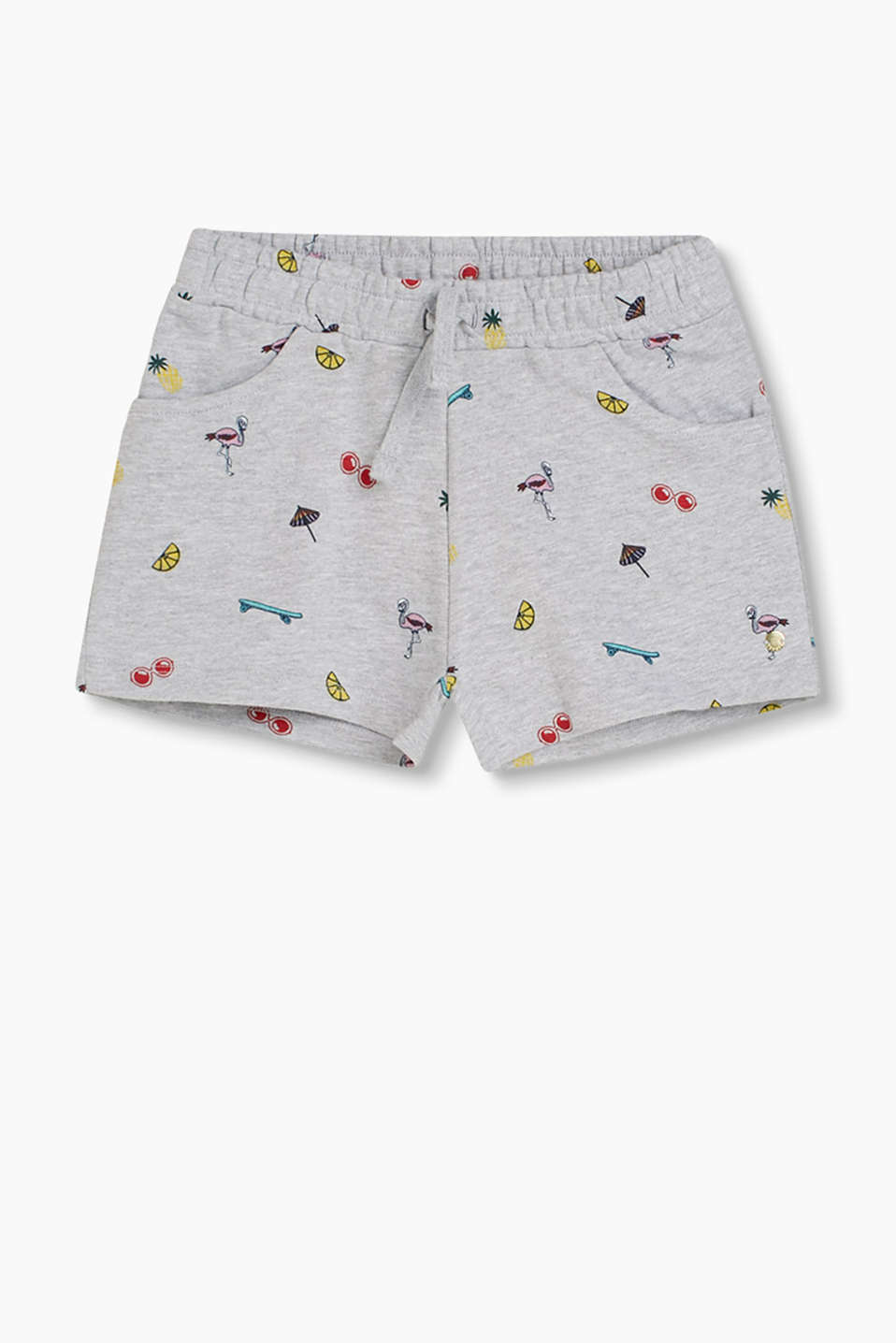 Sweatshirt shorts in a melange cotton blend with summery printed motifs