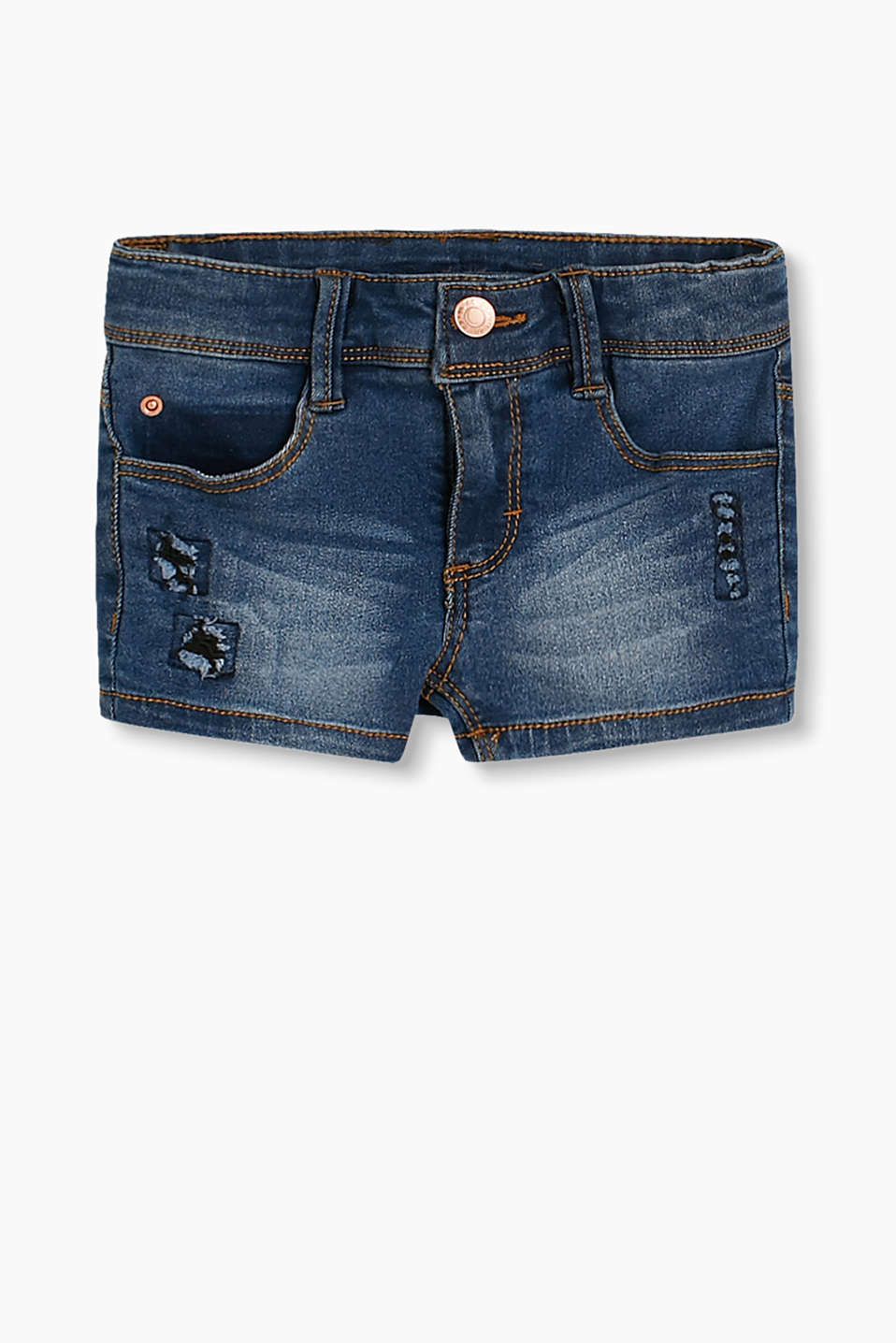 Casual shorts in soft stretch denim with fashionable vintage details and an adjustable waistband