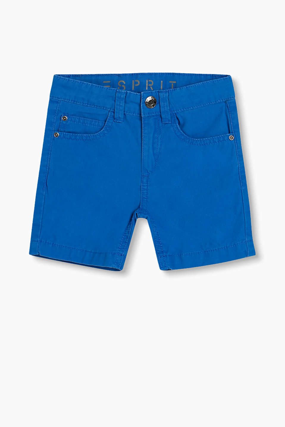 Soft woven shorts in cotton with a practical, adjustable waistband