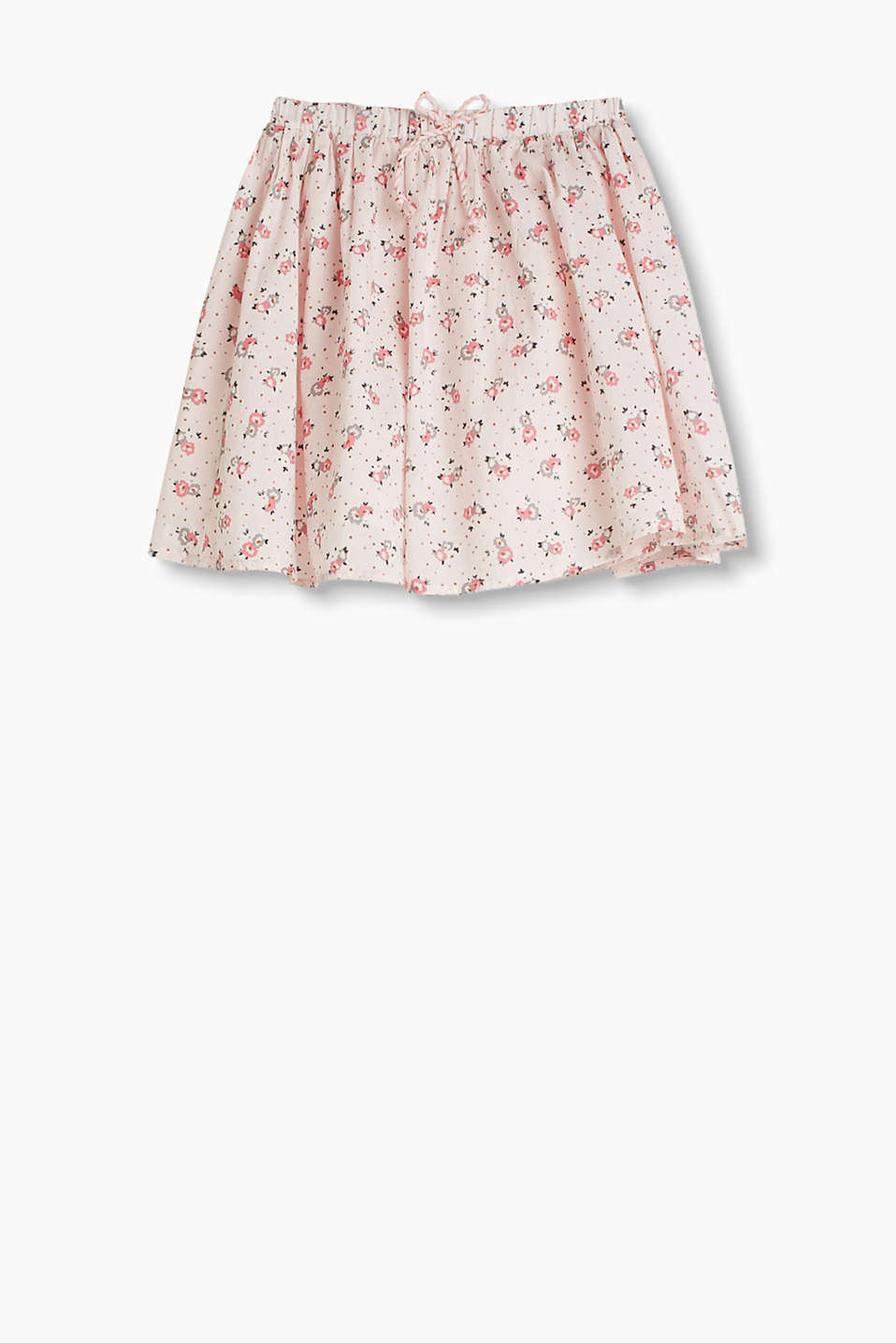 Wide flared floral skirt with an elasticated waistband and cord bow, 100% cotton