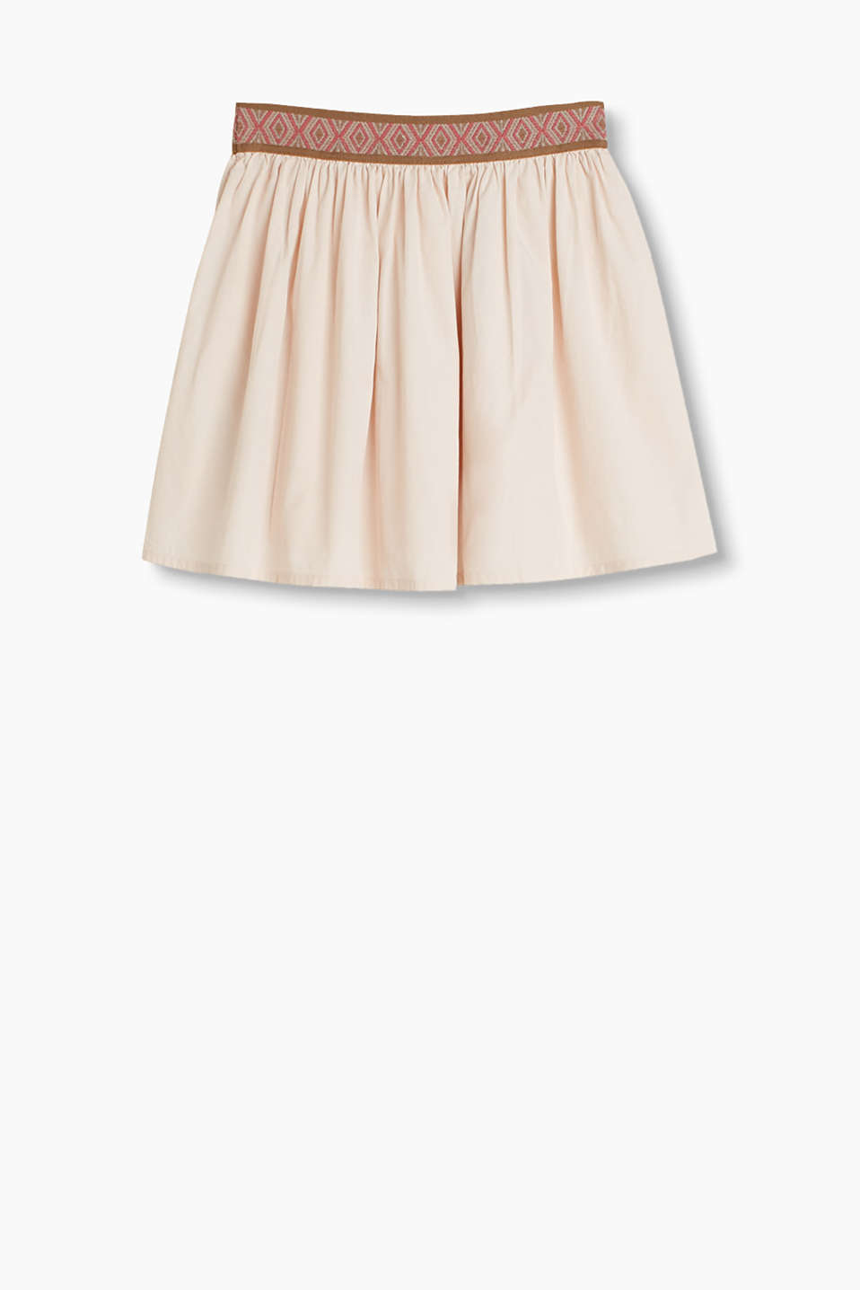 Flared, cotton poplin skirt with a decoratively patterned, elasticated waistband