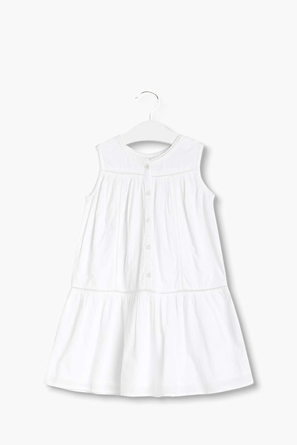 Light and airy cotton dress with a button placket and broderie anglaise in a vest top style