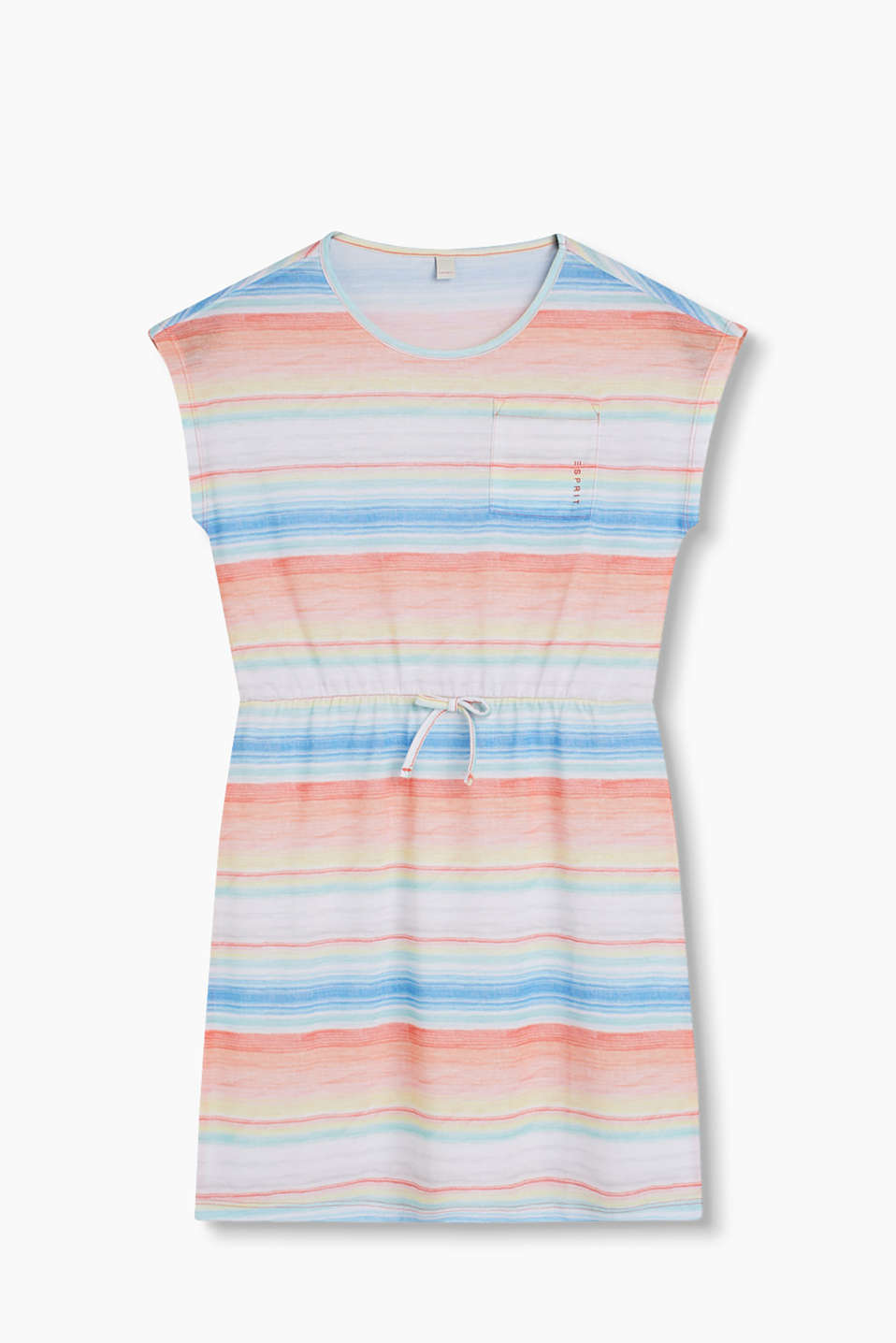 Bow detail T-shirt dress with an elasticated waistband and brightly coloured stripes