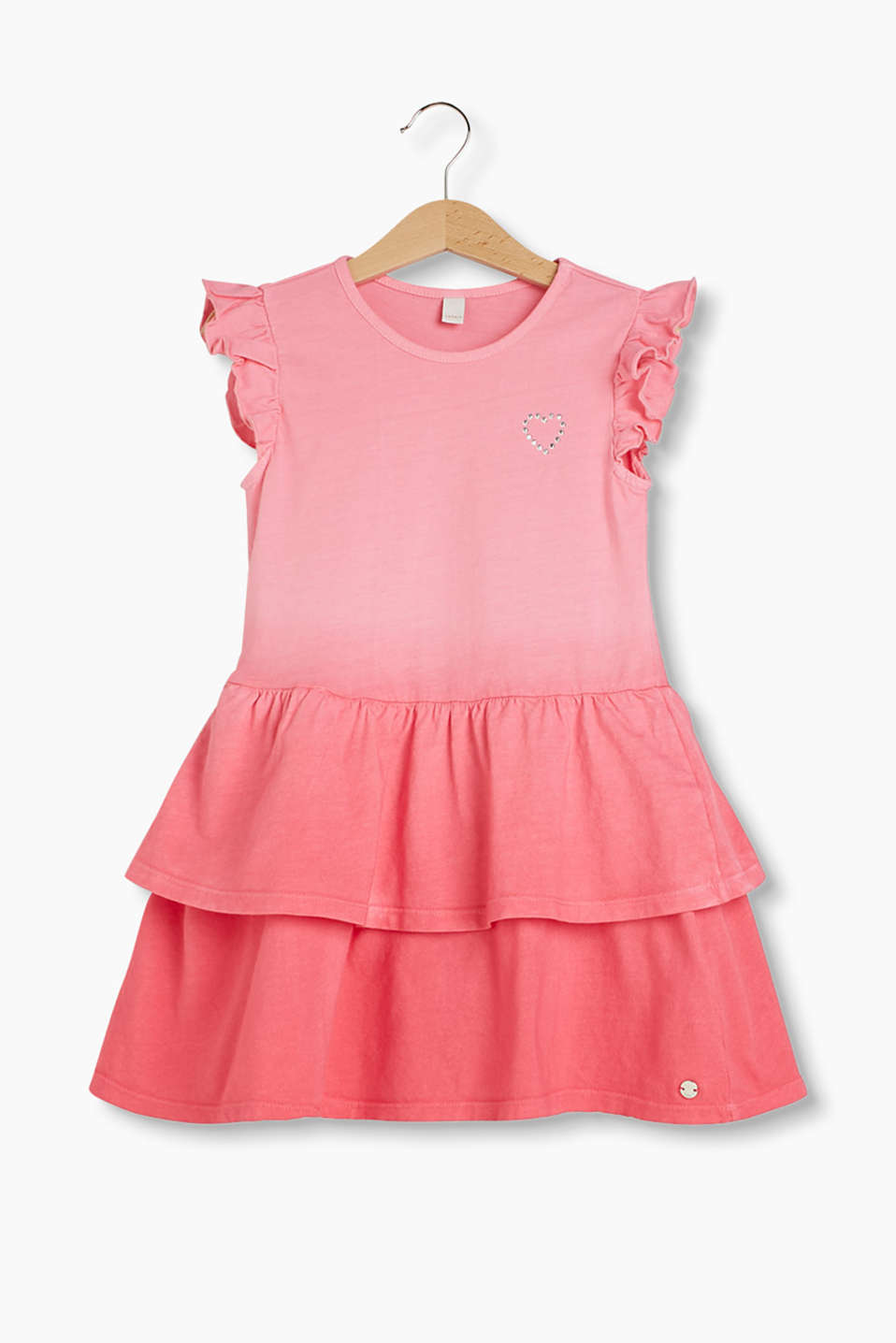 Jersey dress with colour graduation, frilly sleeves and tiered skirt, 100% cotton