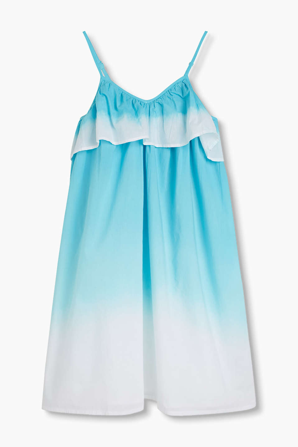 Light and airy, dip-dye dress with a frill
