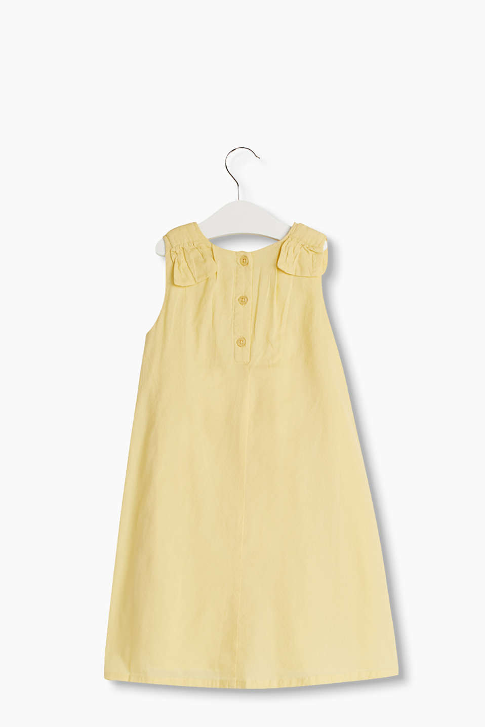 Flared A-line cotton dress with pretty bow details on the shoulders and a fine woven pattern.