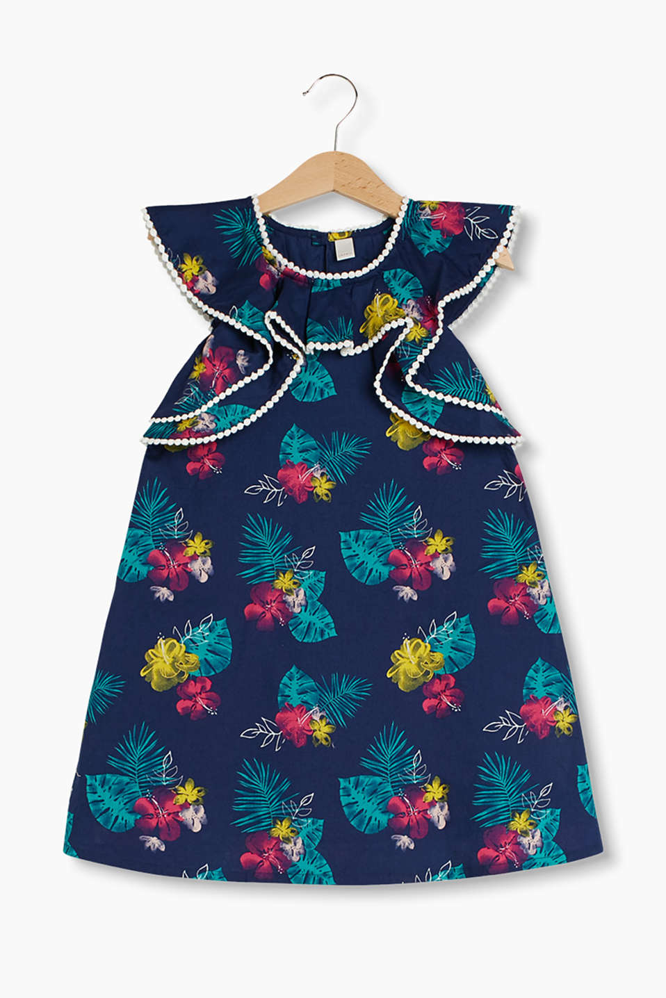Amazingly adorable cotton dress with a tropical all-over print and frills with a crocheted edge