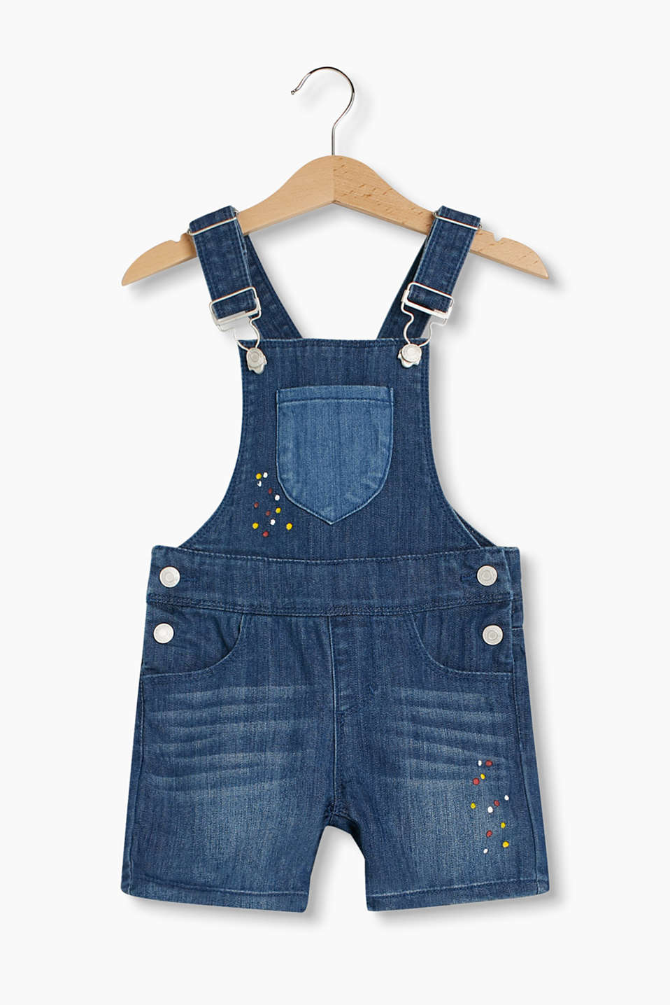 These short denim dungarees in soft stretch denim with a polka dot print and adjustable waistband are very stylish.