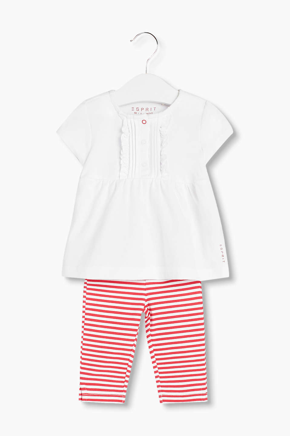 Set: Flared frilly T-shirt and striped leggings in soft cotton jersey with added stretch for comfort