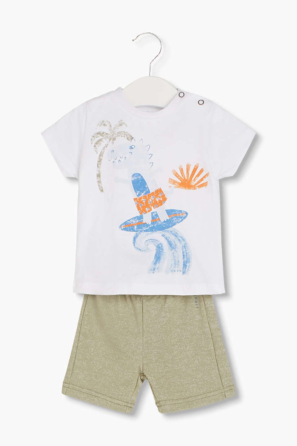 Set: Cotton T-shirt with a dino print and melange sweatshirt shorts
