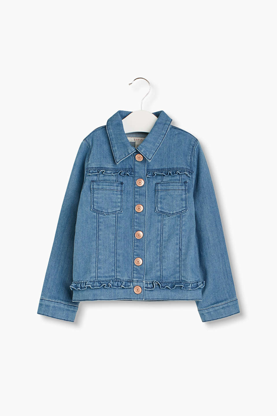 Garment-washed denim jacket with pretty frill details